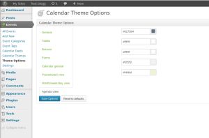 Calendar Theme Options